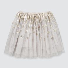 Sequin Star Skirt  PEARL GREY  hi-res