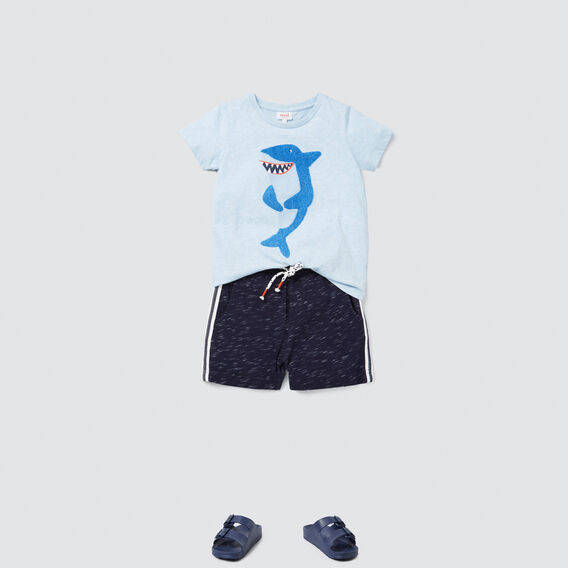 Chenille Shark Tee  SLEEPY BLUE MARLE  hi-res