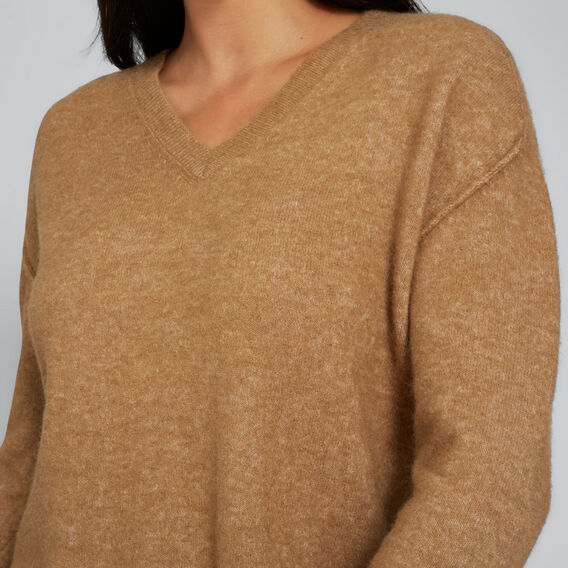 V Neck Plush Sweater  GINGERBREAD  hi-res