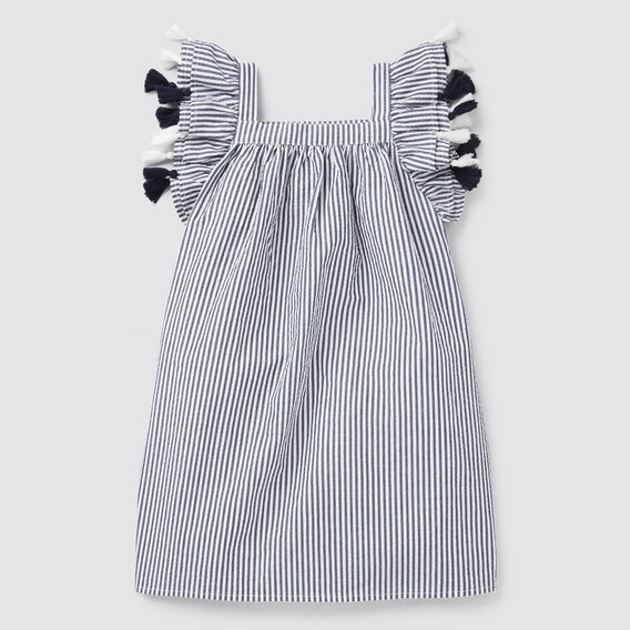 Seersucker Tassel Dress  NAVY/WHITE  hi-res