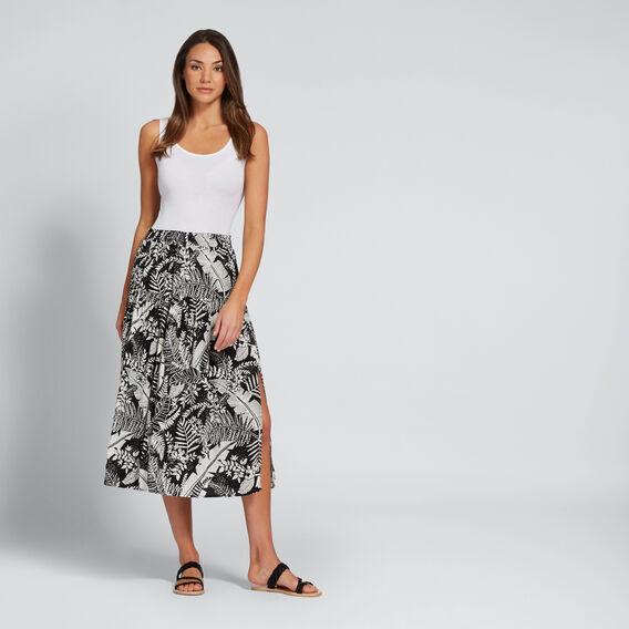 Split Floral Skirt  PALM PRINT  hi-res