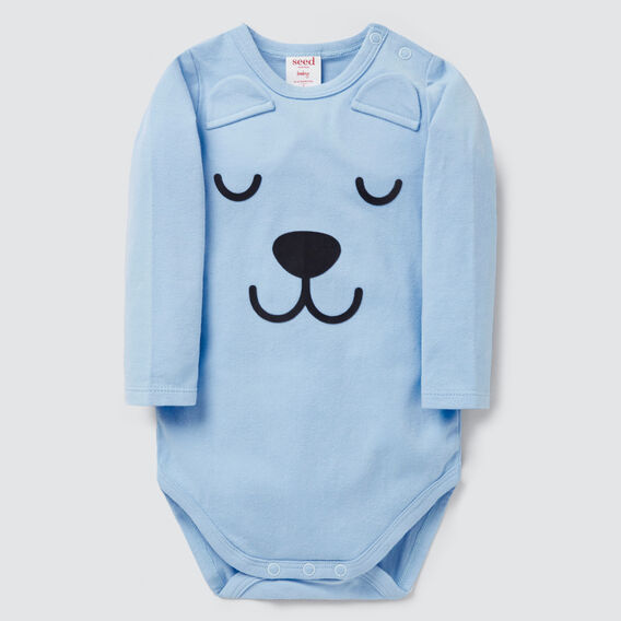 Novelty Bear Bodysuit  DUSK BLUE  hi-res