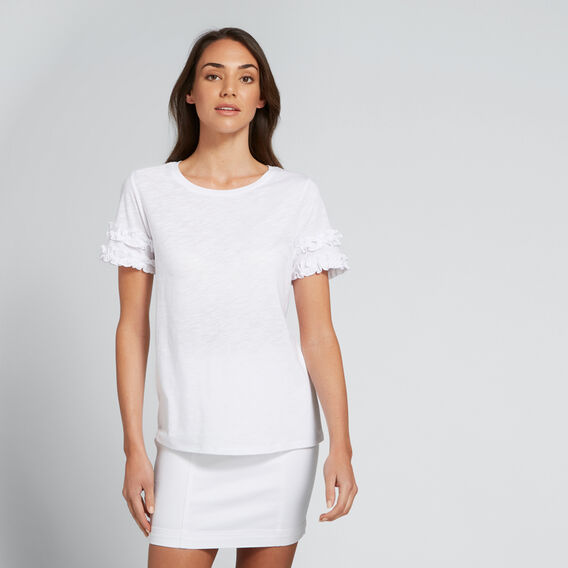 Mini Ruffle Sleeve Tee  WHISPER WHITE  hi-res