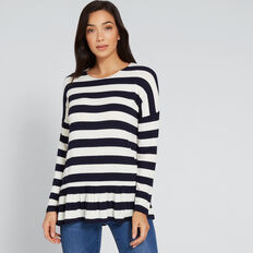 Frill Hem Top  NAUTICAL BLUE STRIPE  hi-res