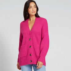 Cosy Button Down Cardigan  BOLD FUCHSIA  hi-res