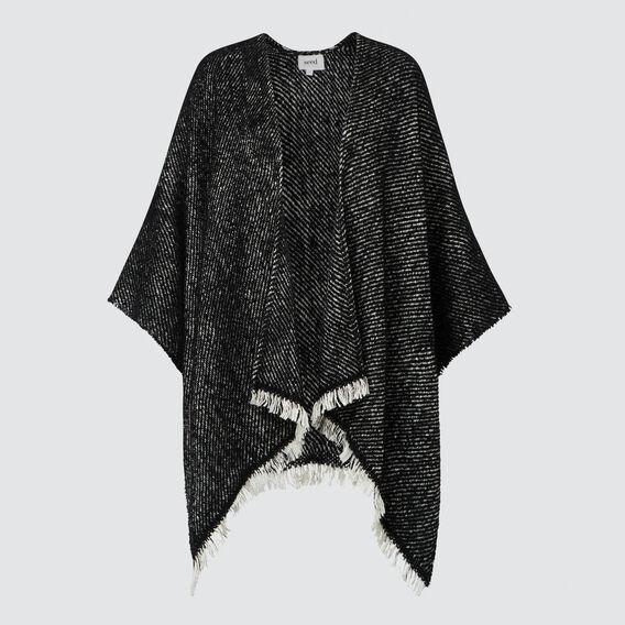 Fringe Edge Knit Poncho  BLACK MARLE  hi-res