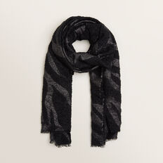 Boucle Zebra Scarf  BLACK MULTI  hi-res