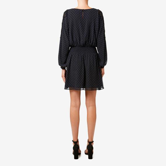 Drop Waist Dobby Dress  BLACK  hi-res