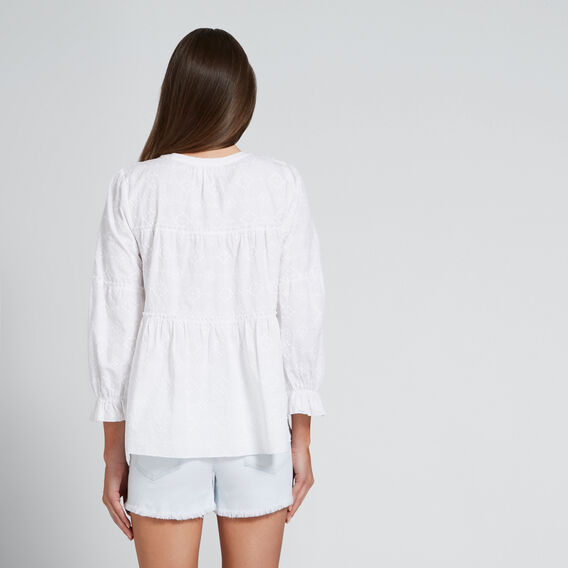 Geo Embroidered Top  WHISPER WHITE  hi-res