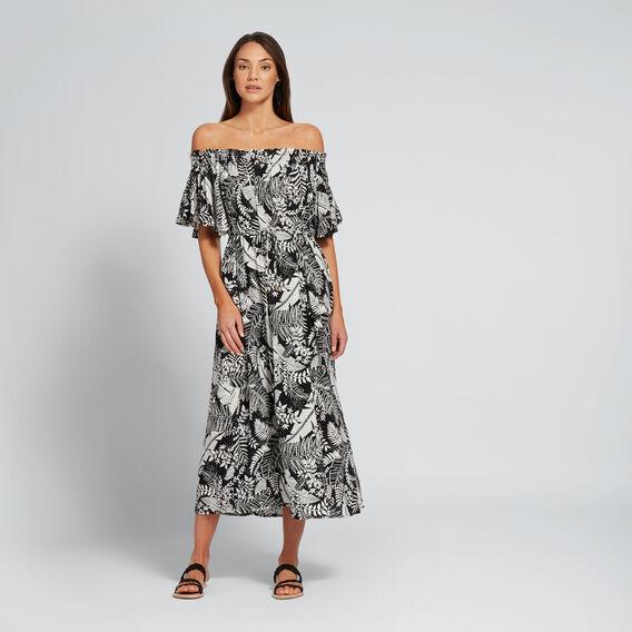 Off-Shoulder Floral Dress  PALM PRINT  hi-res