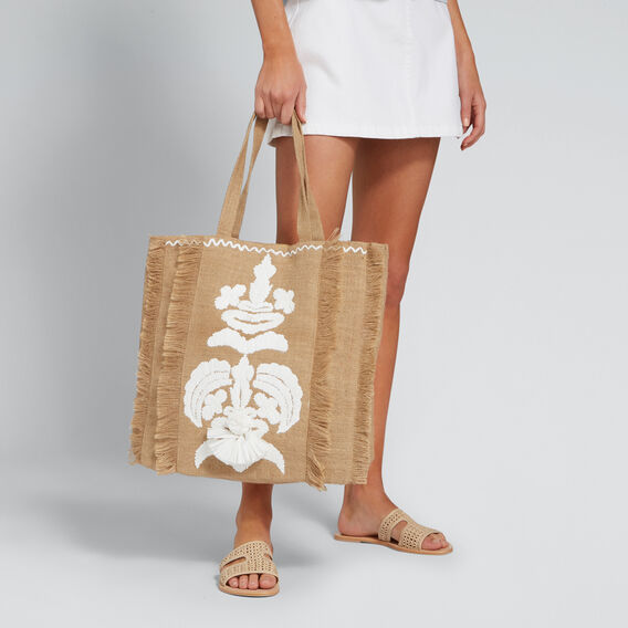 Embroidered Tote  NATURAL/WHITE  hi-res
