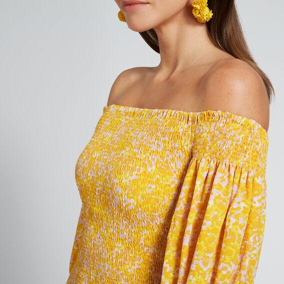 Shirred Off-Shoulder Dress  FLORAL  hi-res