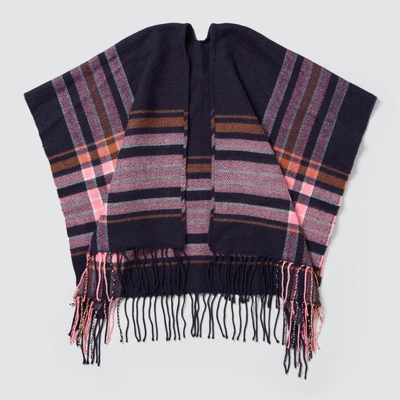 Tartan Blanket Poncho  NAVY  hi-res