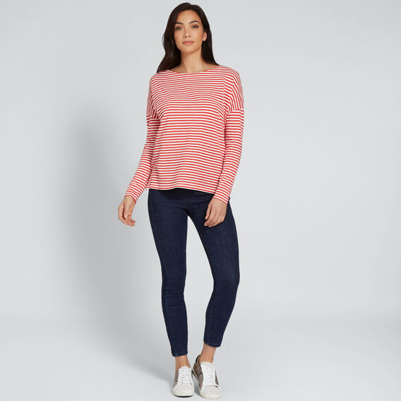 Stripe Long Sleeve Top  FIERY RED/CREAM  hi-res