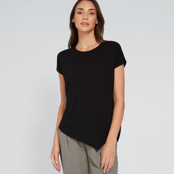 Asymmetric Woven Back Top  BLACK  hi-res