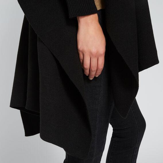 Rib Sleeve Poncho  BLACK  hi-res