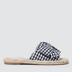 Gingham Bow Slide  BLACK/WHITE  hi-res