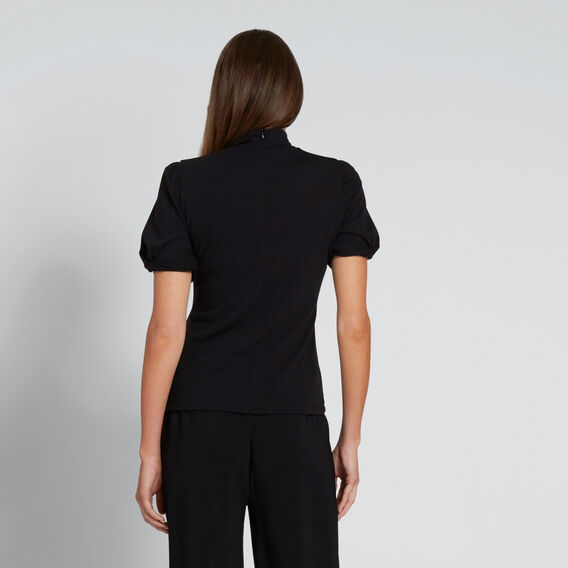 Ruched Sleeve Top  BLACK  hi-res