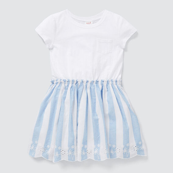 Spliced Stripe Dress  WHITE/OCEAN BLUE  hi-res
