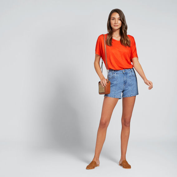 Side Notch Denim Short  CLASSIC DENIM  hi-res