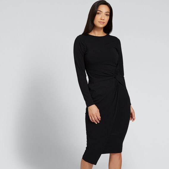 Asymmetric Twist Dress  BLACK  hi-res