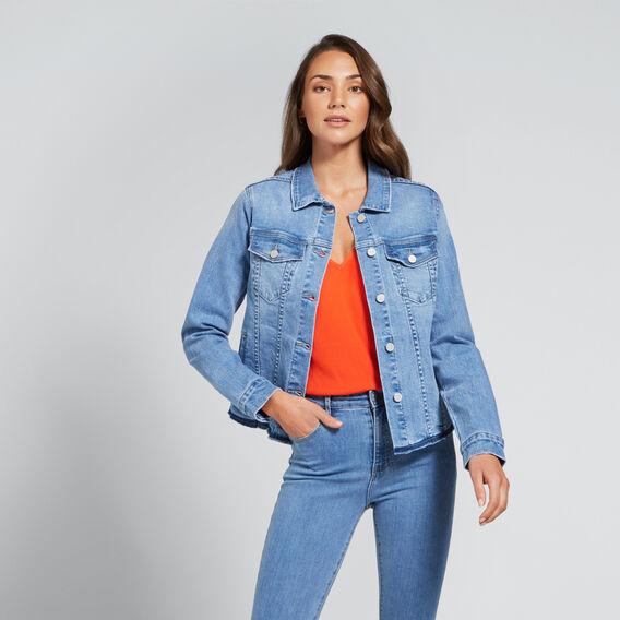 Zip Detail Denim Jacket  CLASSIC DENIM  hi-res