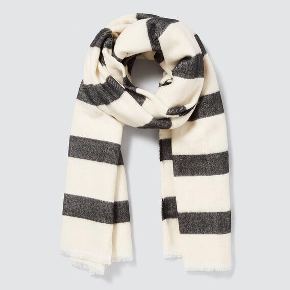 Wide Stripe Scarf  BLACK/CREAM  hi-res
