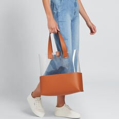 Transparent Tote  CLEAR/TAN  hi-res