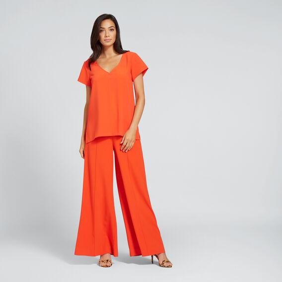 V-Neck Longline Blouse  SPANISH RED  hi-res