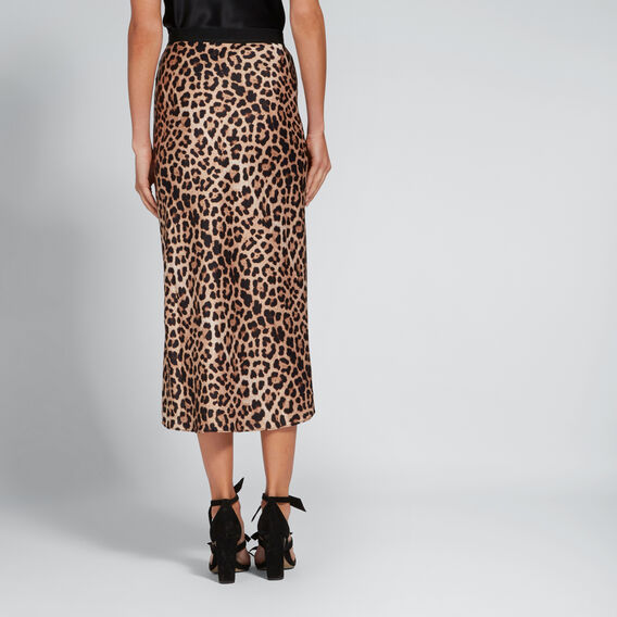 Printed Satin Skirt  LEOPARD PRINT  hi-res