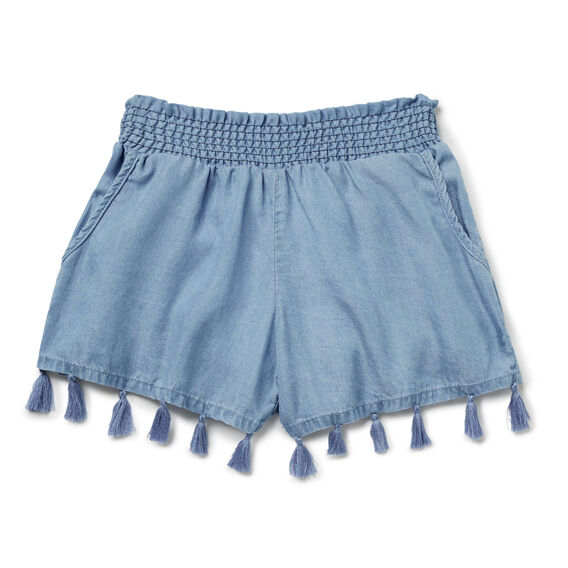 Chambray Tassel Short  SOFT BLUE CHAMBRAY  hi-res