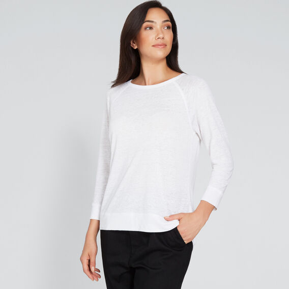 Raglan 3/4 Linen Top  WHISPER WHITE  hi-res