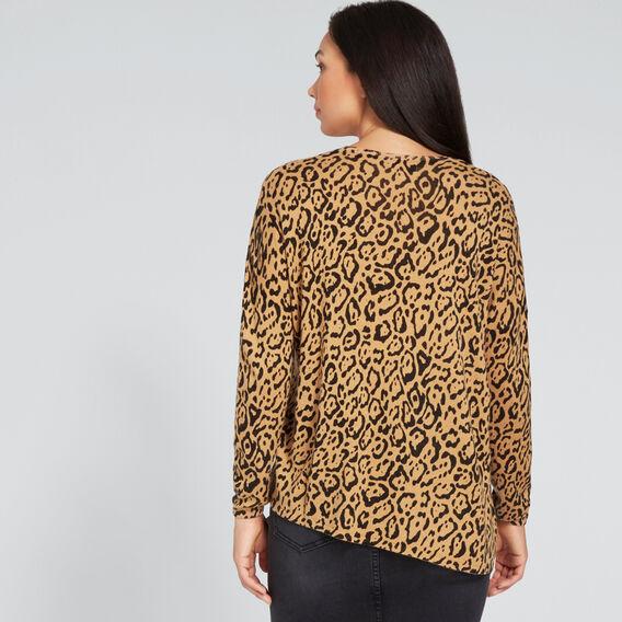 Asymmetric Ocelot Sweater  GOLDEN TAN OCELOT  hi-res