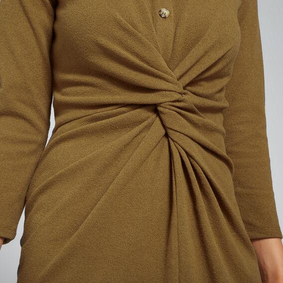 Knot Front Shirt Dress  DARK KHAKI  hi-res