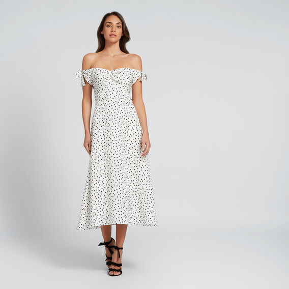 Off-Shoulder Spot Dress  SPOT  hi-res
