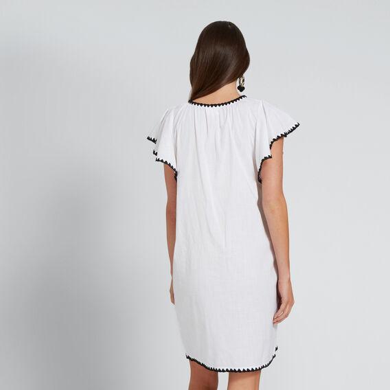Embroidered Trim Dress  WHISPER WHITE  hi-res