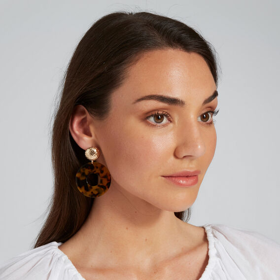 Circle Statement Earrings  GOLD/TORT  hi-res