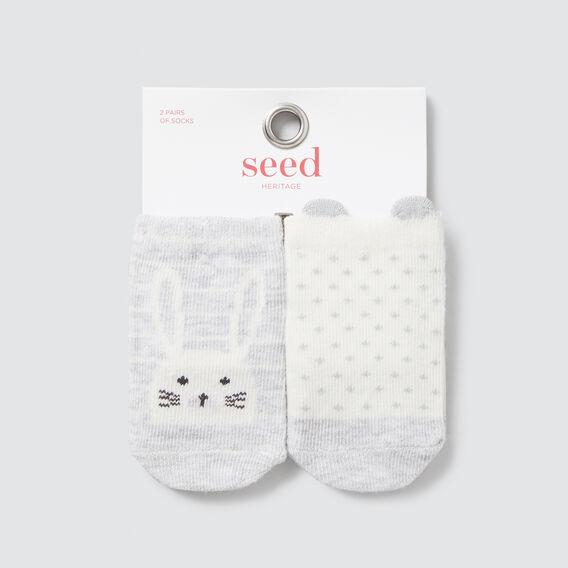 2 Pack Bunny Socks  GREY MARLE  hi-res
