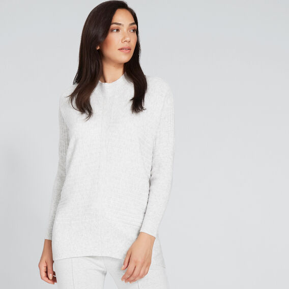 High Neck Cosy Sweater  LIGHT GREY MARLE  hi-res