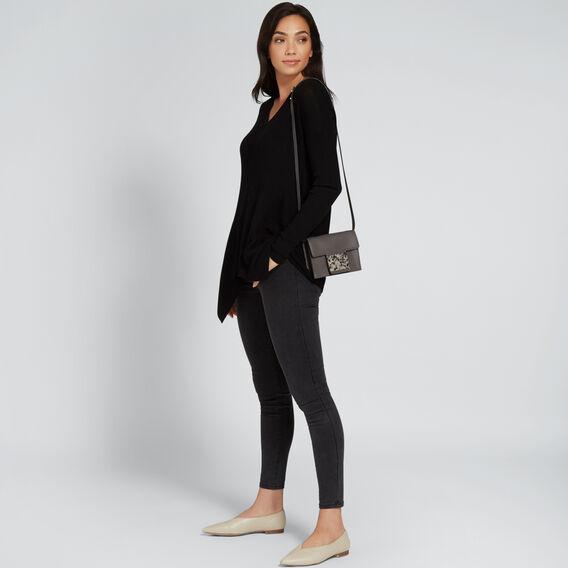 V Neck Rib Sweater  BLACK  hi-res