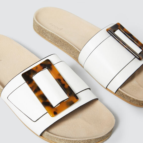 Renee Tort Buckle Slide  WHITE  hi-res