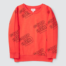 Slogan Yardage Sweater  FIRE ENGINE RED  hi-res