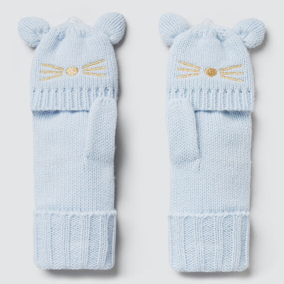 Knitted Cat Gloves  SOFT BLUE  hi-res