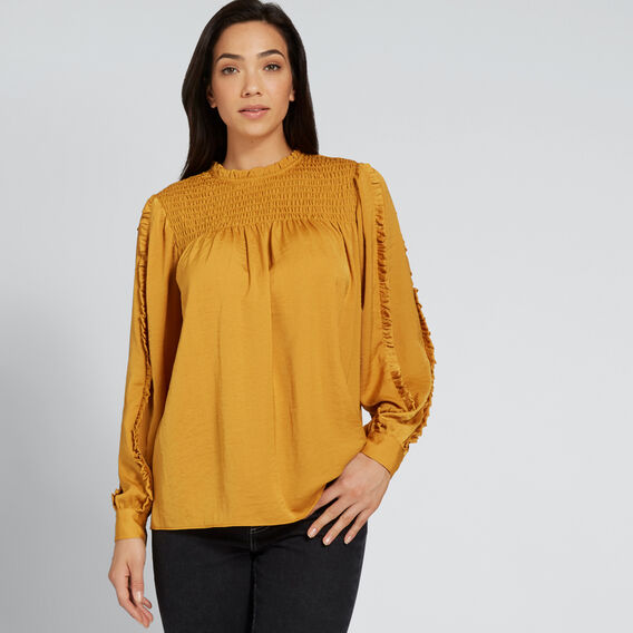 Shirred Frill Blouse  GOLDEN MUSTARD  hi-res