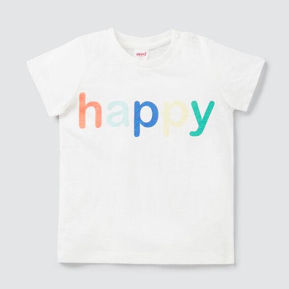 Happy Print Tee  VINTAGE WHITE  hi-res
