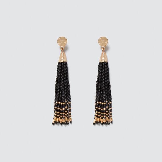 Two-Tone Tassel Earrings  BLACK/GOLD  hi-res