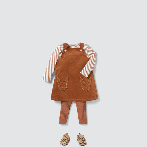 Bunny Pocket Pinafore  DARK BISCUIT  hi-res