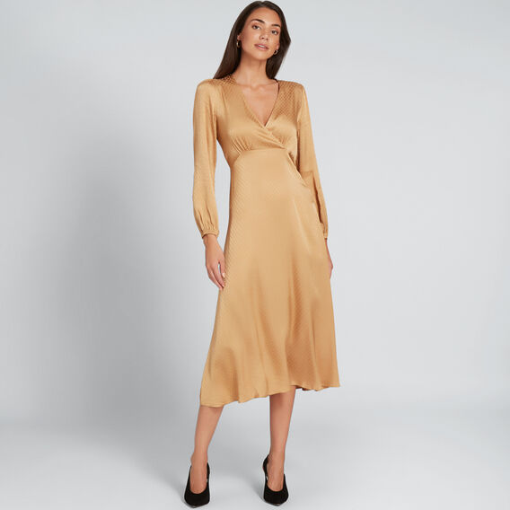 Spot Wrap Dress  GOLDEN TAN  hi-res