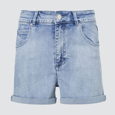 ROLLED HEM DENIM SHORT  PALE BLUE WASH  hi-res