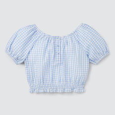 Gingham Button-Through Top  CORNFLOWER  hi-res